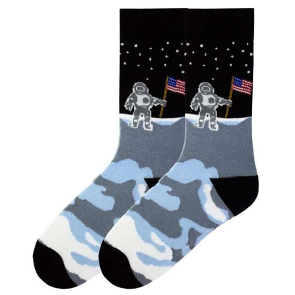 Men's Man on the Moon Crew Socks by K. Bell Socks - FINAL SALE