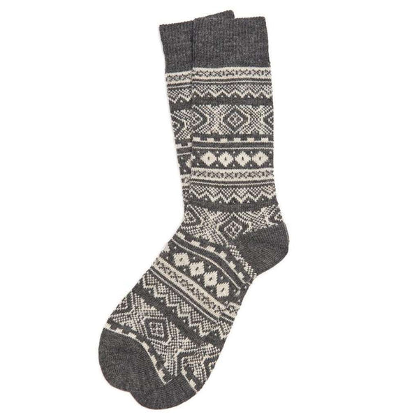 Men's Onso Fairisle Socks in Grey by Barbour