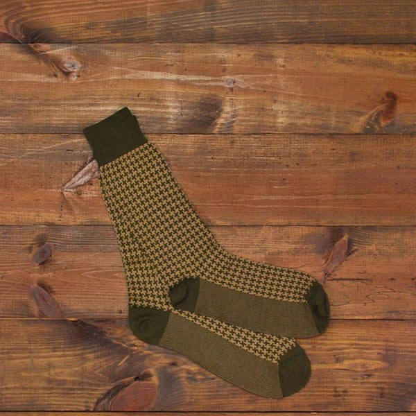 5d9b763bbec Men s Socks - Pima Cotton Houndstooth Socks In Moss By Martin Dingman