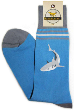 Men's Socks - Shark Attack Sporting Socks In Cool Blue By Bird Dog Bay