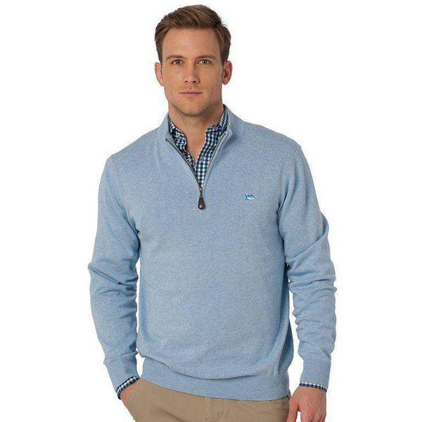 Men's Sweaters - 1/4 Zip Heathered Pullover In Sea Fog Blue By Southern Tide