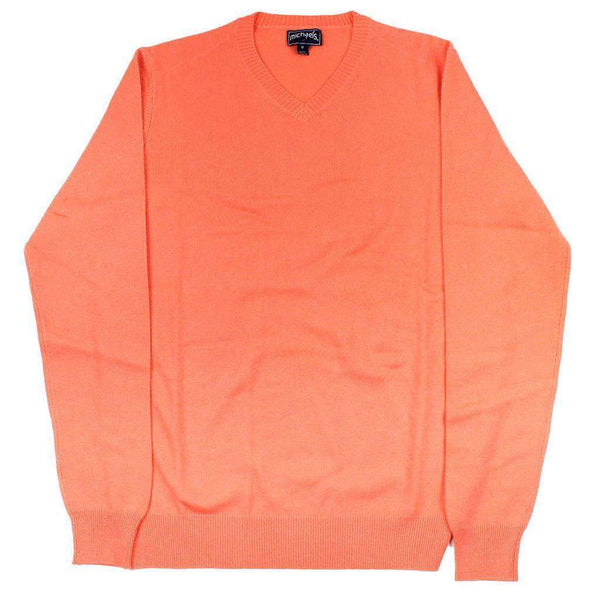 Men's Sweaters - Cashmere V-Neck Sweater In Coral By Michael's - FINAL SALE