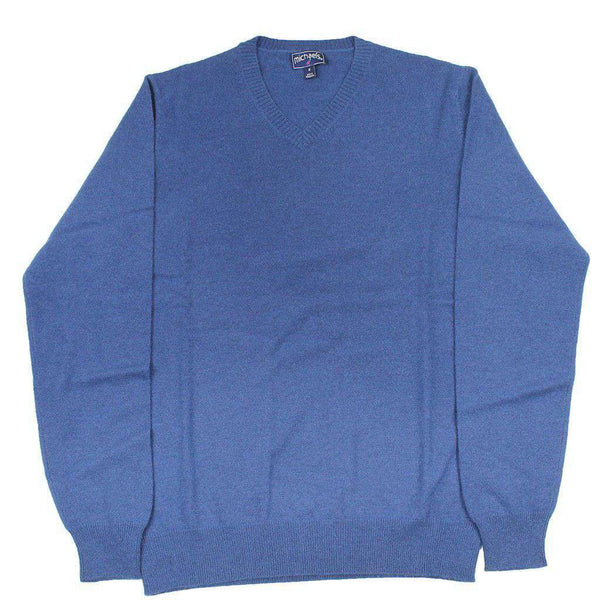 Men's Sweaters - Cashmere V-Neck Sweater In Navy By Michael's - FINAL SALE