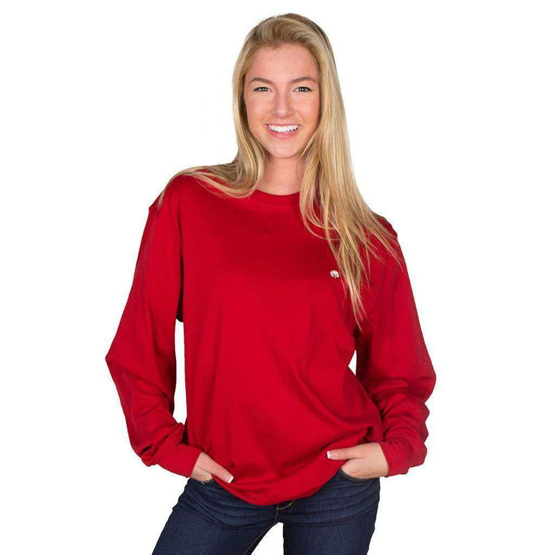 Men's Sweaters - Cotton Boll Embroidered Crewneck Sweatshirt In Crimson By Cotton Brothers - FINAL SALE