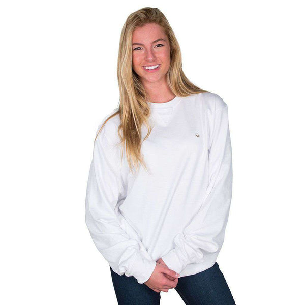 Cotton Boll Embroidered Crewneck Sweatshirt in White by Cotton Brothers - FINAL SALE