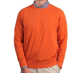 Men's Sweaters - Front Nine Cotton Crew Neck Sweater In Burnt Orange By Country Club Prep - FINAL SALE