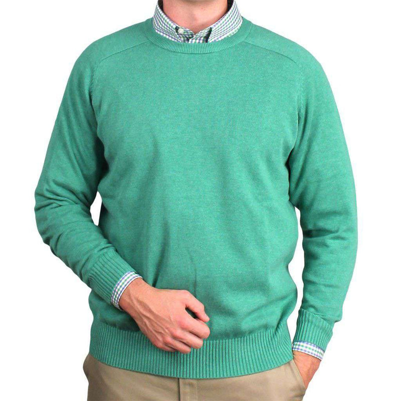 Men's Sweaters - Front Nine Cotton Crew Neck Sweater In Emerald By Country Club Prep - FINAL SALE