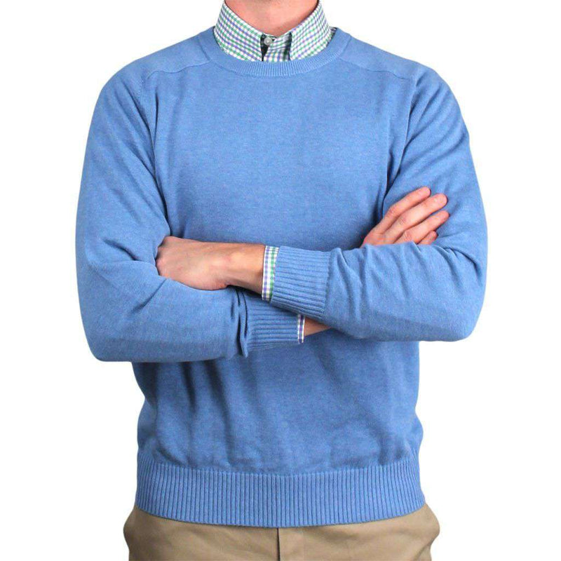 Front Nine Cotton Crew Neck Sweater in Light Blue by Country Club Prep - FINAL SALE