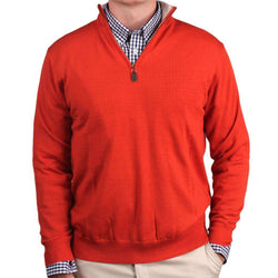 Men's Sweaters - Happy Hour 1/4 Zip Merino Sweater In Burnt Orange By Country Club Prep - FINAL SALE
