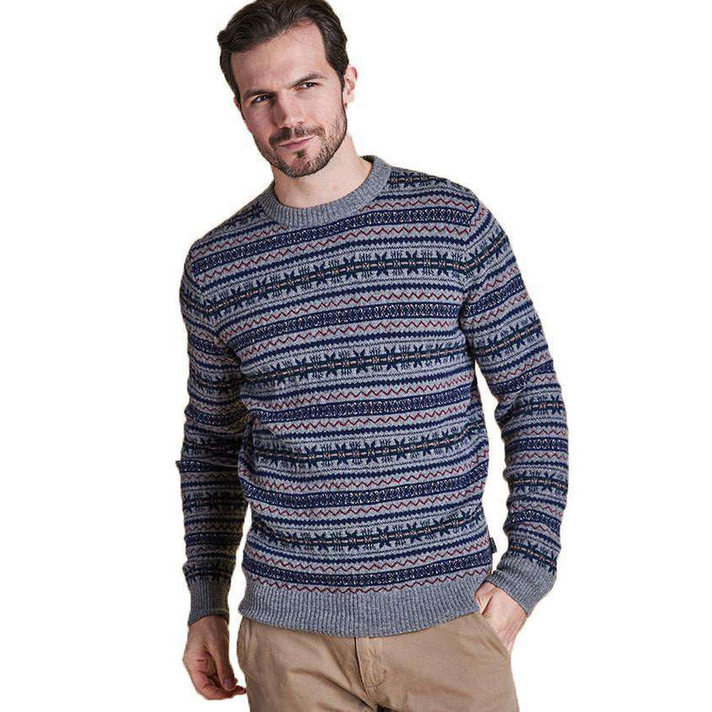 5cf4861055699 Men s Sweaters - Harvard Fair Isle Crew Neck Sweater In Grey Marl By Barbour