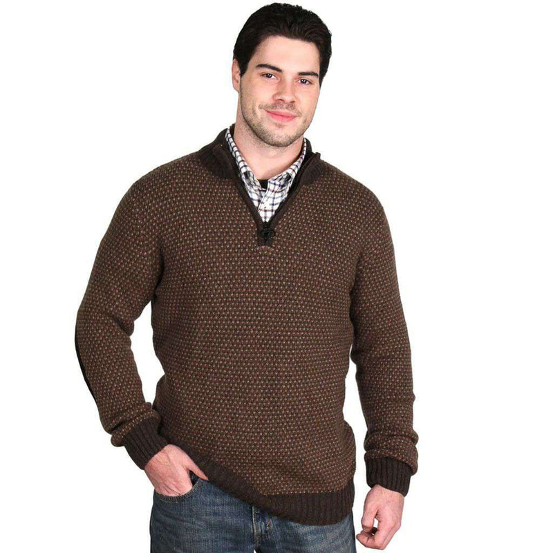 Men's Sweaters - Hines Half Zip In Brown Marl By Barbour