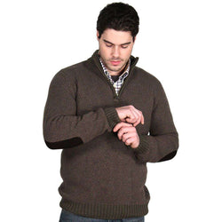 Men's Sweaters - Hines Half Zip In Olive Marl By Barbour
