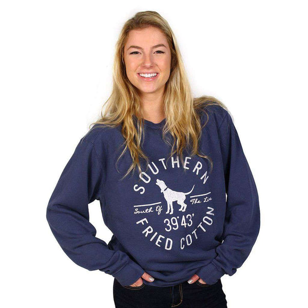 Hound Circle Crew Neck Fleece in China Blue by Southern Fried Cotton