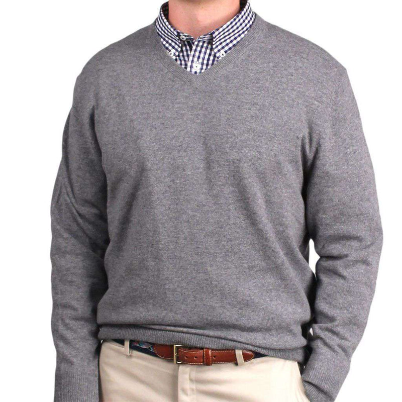 Ivy League Cashmere V-Neck Sweater in Heather Grey by Country Club Prep - FINAL SALE