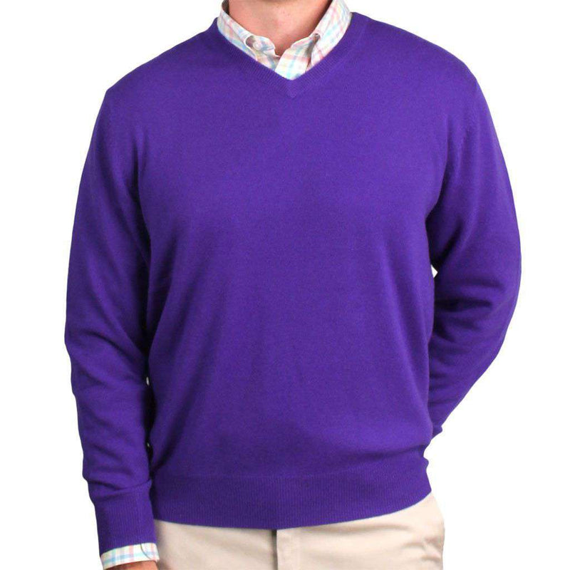 Men's Sweaters - Ivy League Cashmere V-Neck Sweater In Iris Purple By Country Club Prep - FINAL SALE