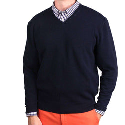 dc4d773b0c49 Country Club Prep Ivy League Cashmere V-Neck Sweater in Navy