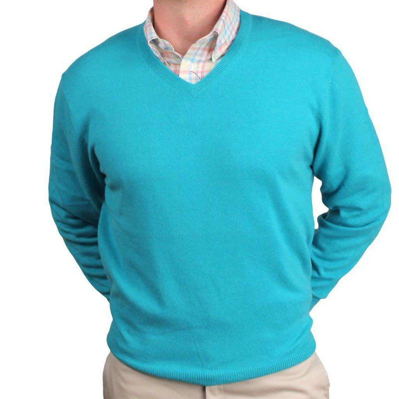Men's Sweaters - Ivy League Cashmere V-Neck Sweater In Reef Green By Country Club Prep - FINAL SALE