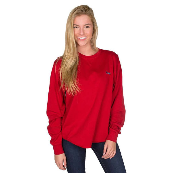 Longshanks Embroidered Crewneck Sweatshirt in Crimson by Country Club Prep - FINAL SALE