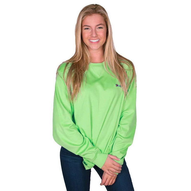 Longshanks Embroidered Crewneck Sweatshirt in Mint by Country Club Prep - FINAL SALE