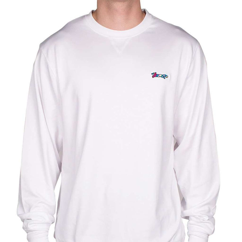 Men's Sweaters - Longshanks Embroidered Crewneck Sweatshirt In White By Country Club Prep - FINAL SALE