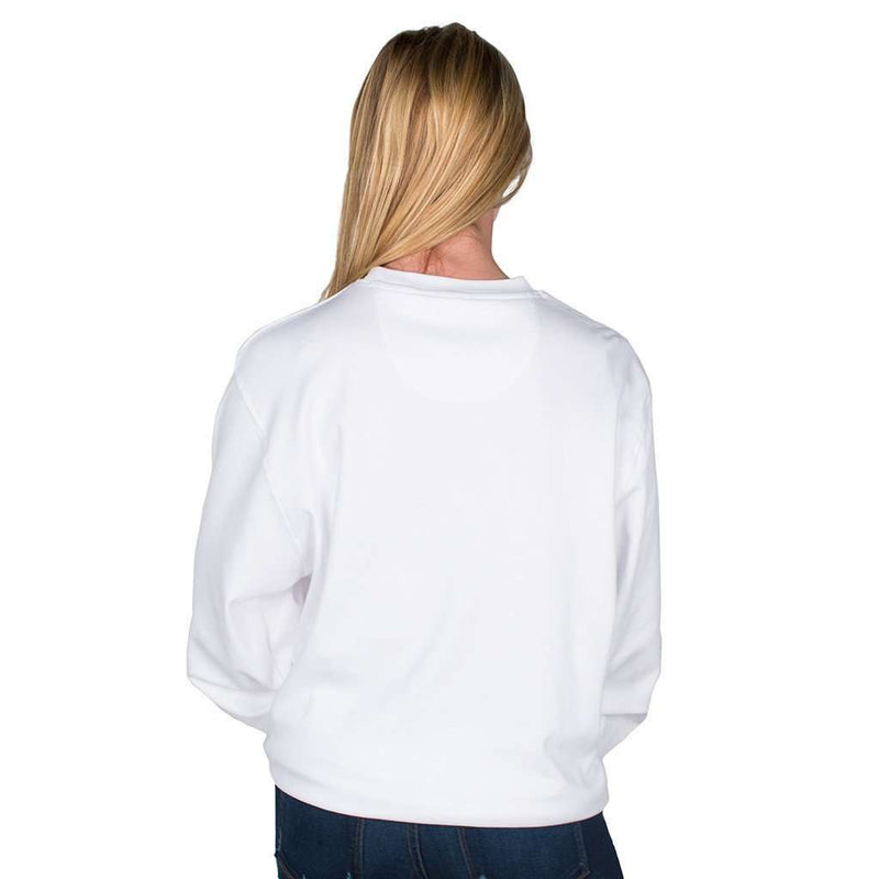 Longshanks Embroidered Crewneck Sweatshirt in White by Country Club Prep - FINAL SALE