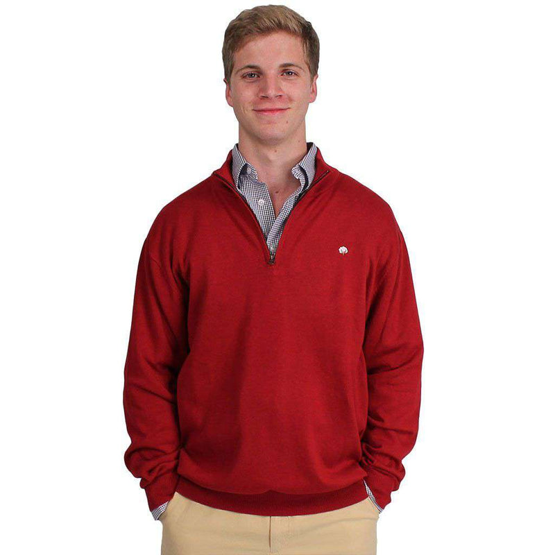 Men's Sweaters - Men's Cotton 1/4 Zip Sweater In Crimson By Cotton Brothers - FINAL SALE