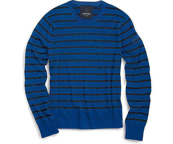 Men's Sweaters - Nautical Stripe Crew Neck Sweater In Blue By Sperry - FINAL SALE