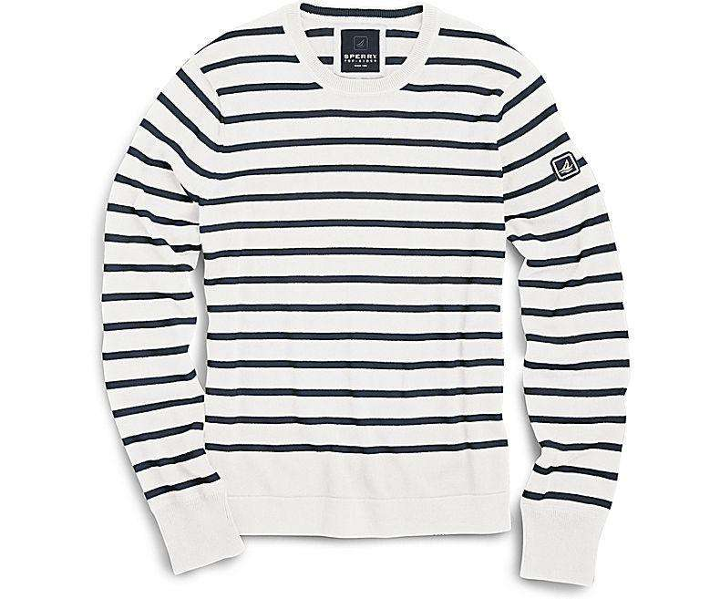 Men's Sweaters - Nautical Stripe Crew Neck Sweater In Ivory And Navy By Sperry
