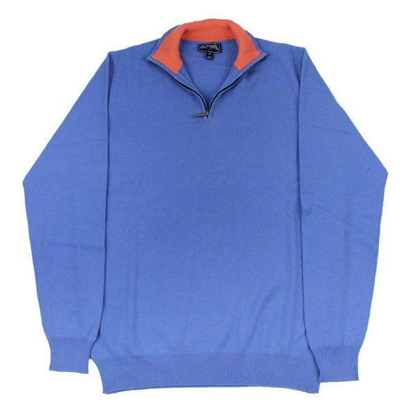 Men's Sweaters - Quarter Zip Cashmere Sweater In Blue By Michael's - FINAL SALE