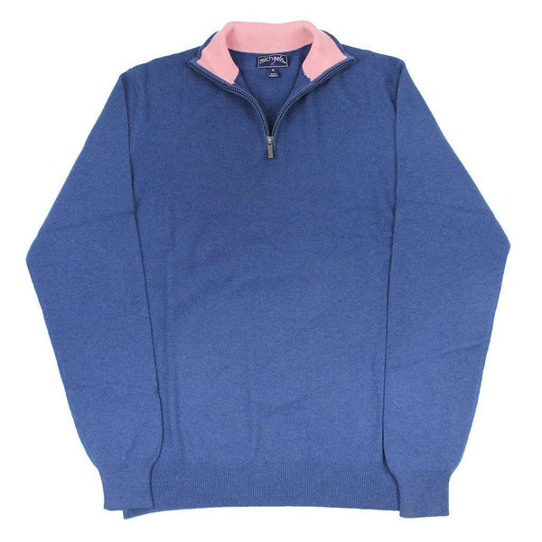 Men's Sweaters - Quarter Zip Cashmere Sweater In Navy By Michael's - FINAL SALE