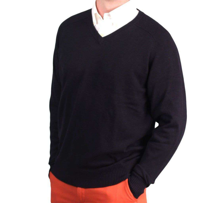 The Banker Cotton V-Neck Sweater in Navy by Country Club Prep