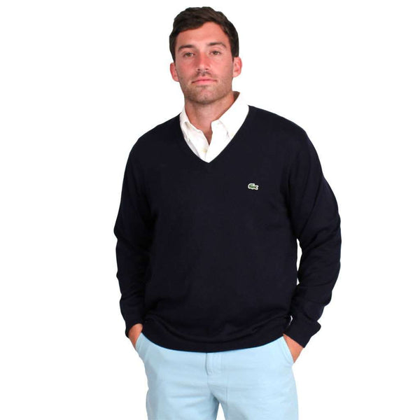 V-Neck Sweater in Navy Blue by Lacoste