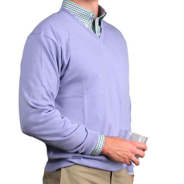 Weekday Warrior V-Neck Merino Sweater in Light Blue by Country Club Prep - FINAL SALE