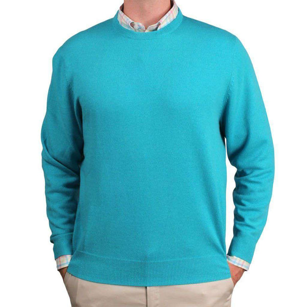 Men's Sweaters - Yacht Club Cashmere Crew Neck Sweater In Reef Green By Country Club Prep - FINAL SALE