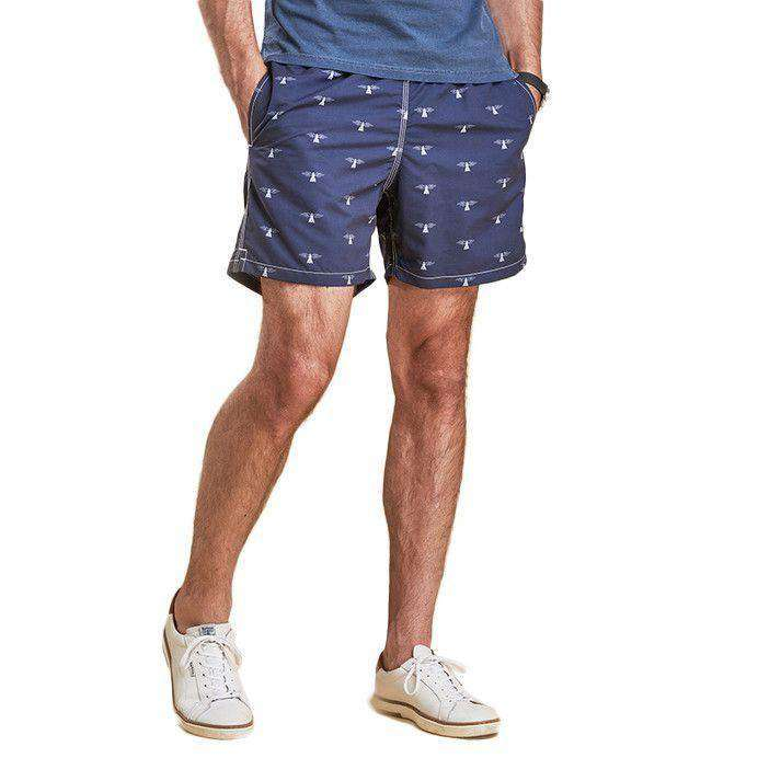 Men's Swimsuits - Beacon Print Swim Shorts In Navy By Barbour