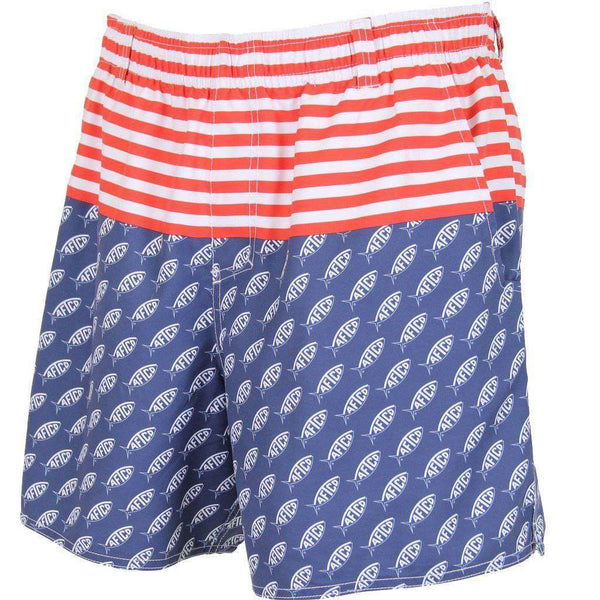 Men's Swimsuits - Captain Swim Trunks In Midnight By AFTCO - FINAL SALE