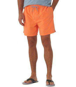 Men's Swimsuits - Classic Swim Trunks In Caribbean Estate Orange By Southern Tide