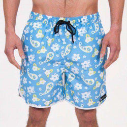 Men's Swimsuits - Country Clubbers Paisley Swim Trunks In Blue By Rowdy Gentleman