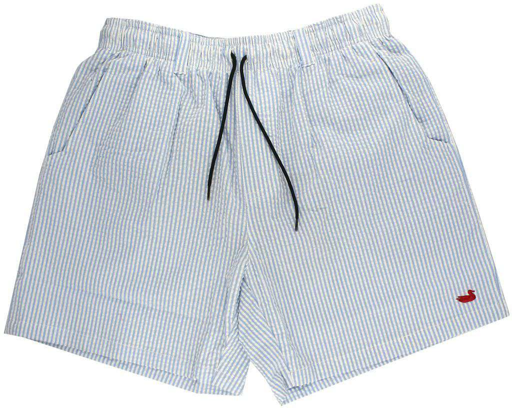 Men's Swimsuits - Dockside Swim Trunk In Blue Seersucker With Red Duck By Southern Marsh