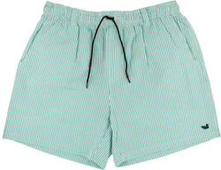 Men's Swimsuits - Dockside Swim Trunk In Jockey Green Seersucker With Navy Duck By Southern Marsh