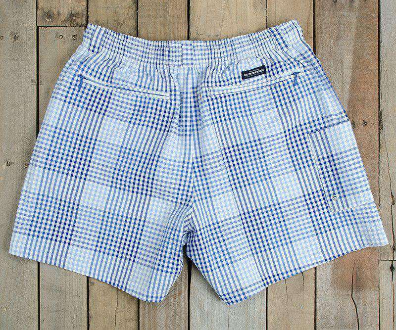 Dockside Swim Trunk in Navy and Blue Seersucker Gingham by Southern Marsh - FINAL SALE