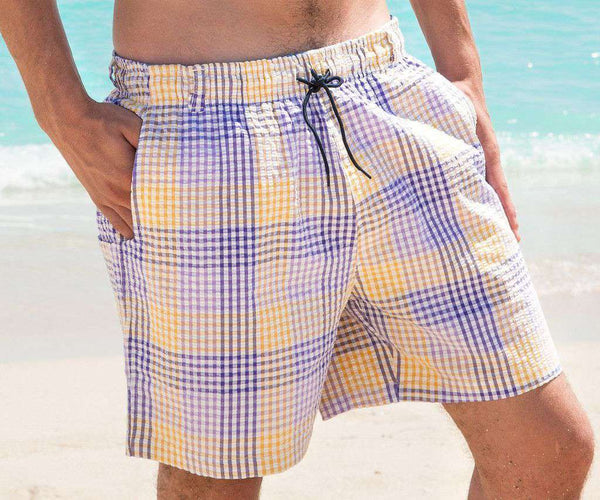 Men's Swimsuits - Dockside Swim Trunk In Purple And Gold Seersucker Gingham By Southern Marsh