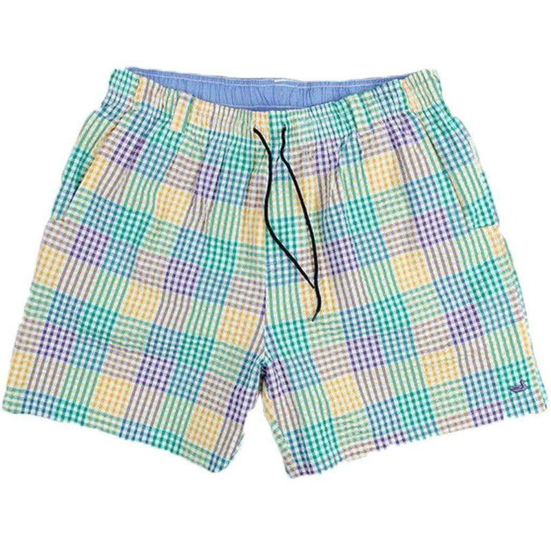 Men's Swimsuits - Dockside Swim Trunk In Purple Green And Gold Seersucker Gingham By Southern Marsh