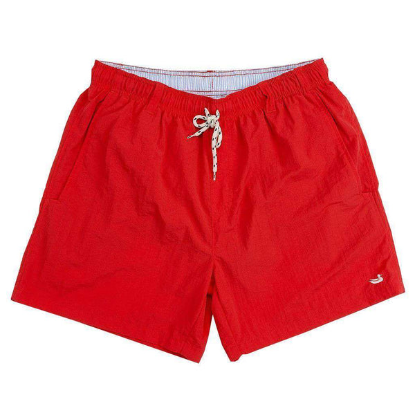 Men's Swimsuits - Dockside Swim Trunk In Red By Southern Marsh