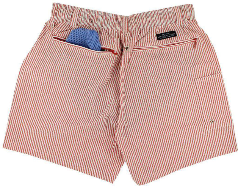 Men's Swimsuits - Dockside Swim Trunk In Red Seersucker With Black Duck By Southern Marsh