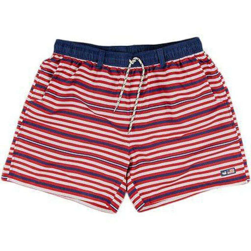 Men's Swimsuits - Dockside Swim Trunk In Red, White And Blue By Southern Marsh