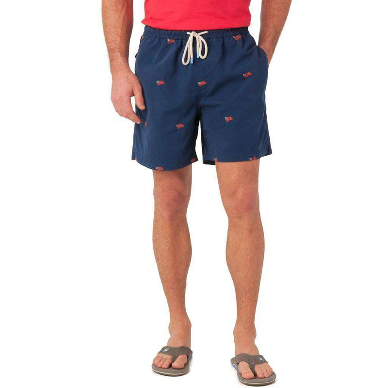 Men's Swimsuits - Embroidered Flag Swim Trunk In Navy By Southern Tide