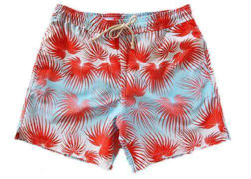 Fan Palms Classic Swim Trunks in Coral Sky Red - FINAL SALE