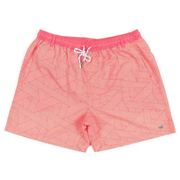 Men's Swimsuits - Fractured Lines Dockside Swim Trunk In Strawberry Fizz & Melon By Southern Marsh