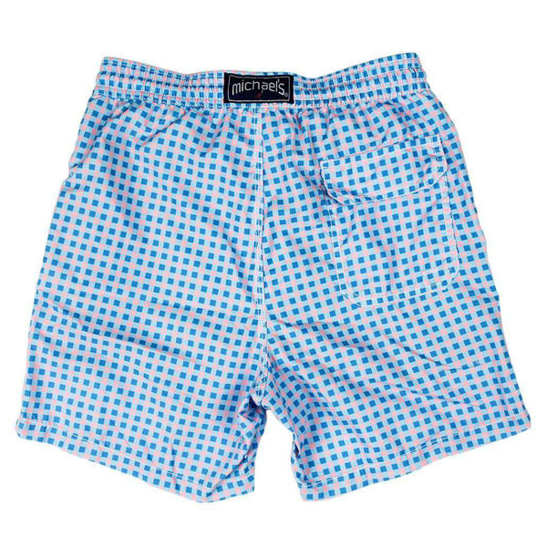 Gingham Swim Trunks in Blue and Pink by Michael's - FINAL SALE